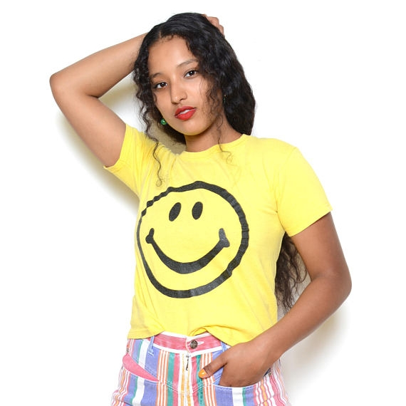 Vintage 90's Smiley Face Graphic Tee Sz S ($24.99) -