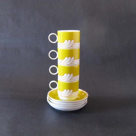 Set (4) Ambrogio Pozzi Linea Duo Exotic Coffee Cup + Saucer Sets - 1968 ($59) -