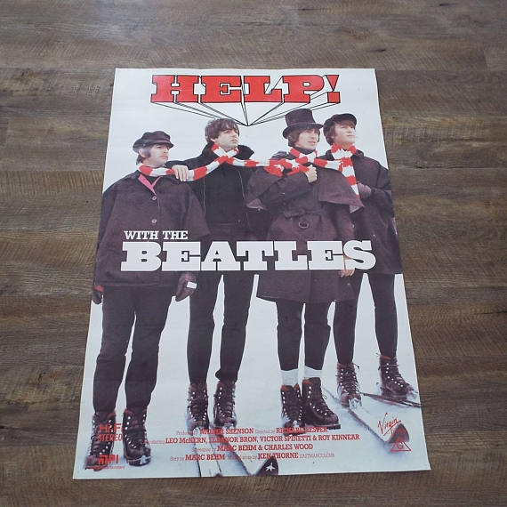 Rare Original 1987 Help With The Beatles (1965) Australian Home Video Release Poster Film Movie Poster Virgin MPI, ($78.70) -