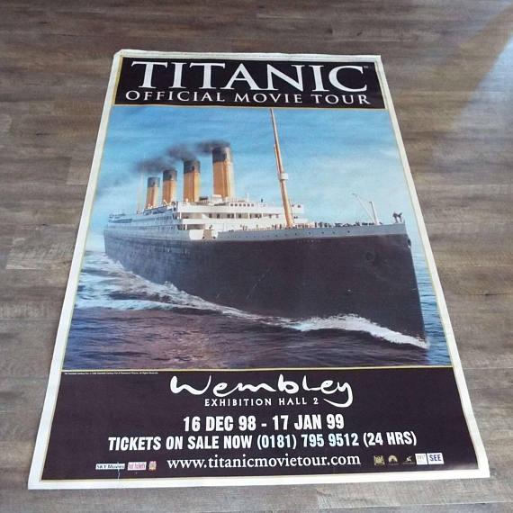 Rare Vintage 1998 Titanic Official Movie Tour Exhibition Poster Wembley Film Poster 20th Century Fox Paramount, ($58.88) -