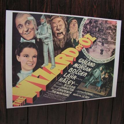 Vintage 1967 The Wizard Of Oz Film Movie Poster Judy Garland Tin Man Lion Yellow Brick Road Dorothy, ($29.83) -