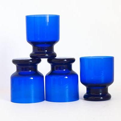 Vintage Small Cobalt Blue Glass Tumblers Juice Glasses ($29.99) -