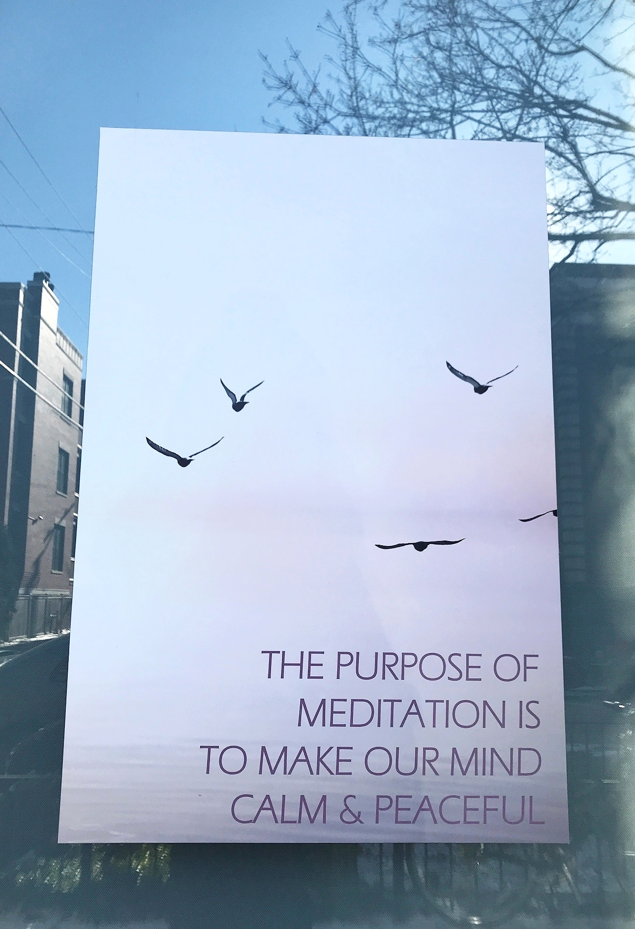 Poster outside Kadampa Meditation Center in Wicker Park, Chicago, IL