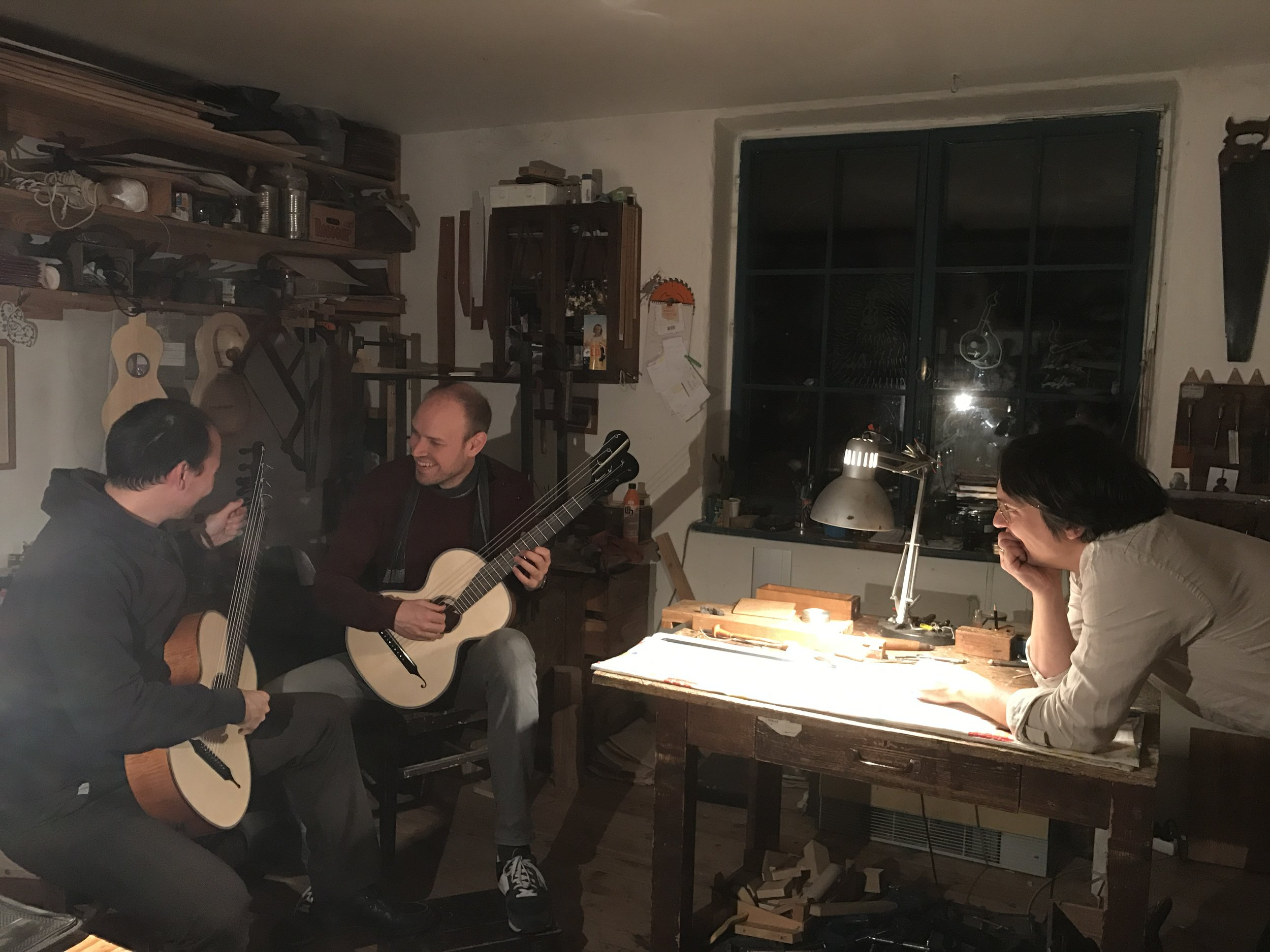 Visiting the workshop of luthier Jan Tulacek, who built the guitars played by Duo Morat-Fergo