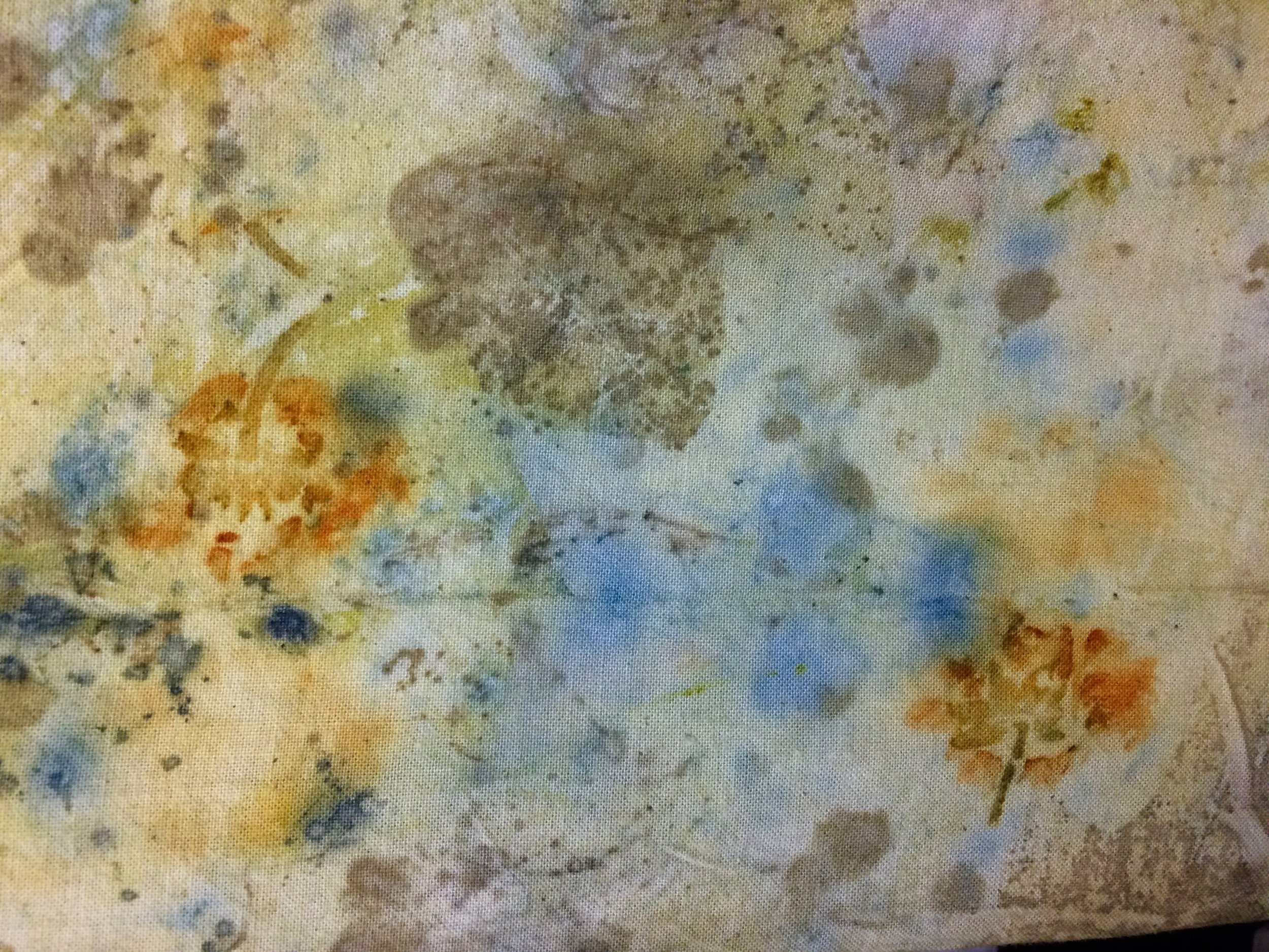 spiderwort, coreopsis, and oak eco print on linen
