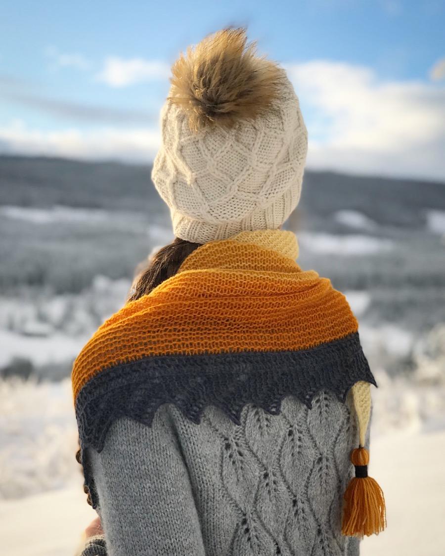 Diamantflettelue, Vintervarmtsjal og Løvfallkardigan.