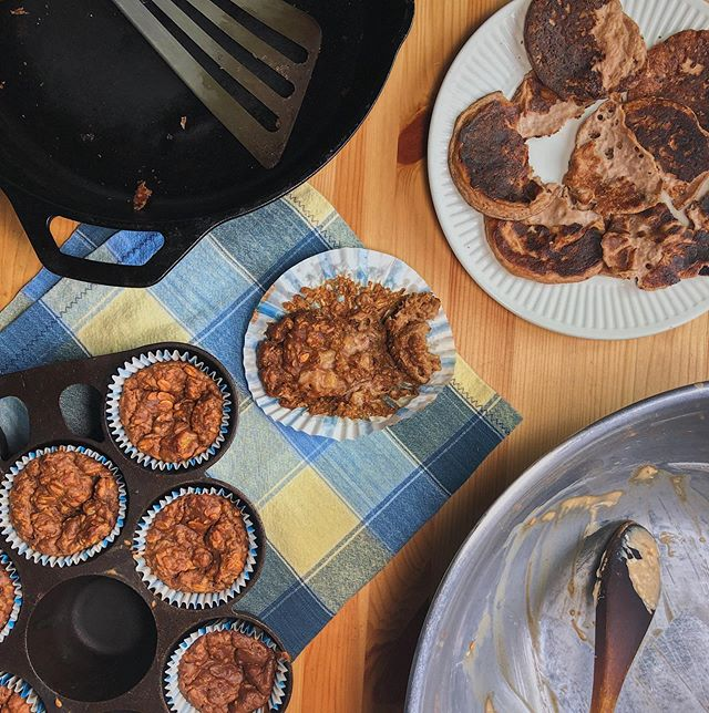 Failed pancakes turned failed muffins. Sometimes things just don't work out. I've made a version of these soaked grain pancakes before but for some reason these were a mess. Having apple and almond butter for breakfast now and thinking about how to fix these.