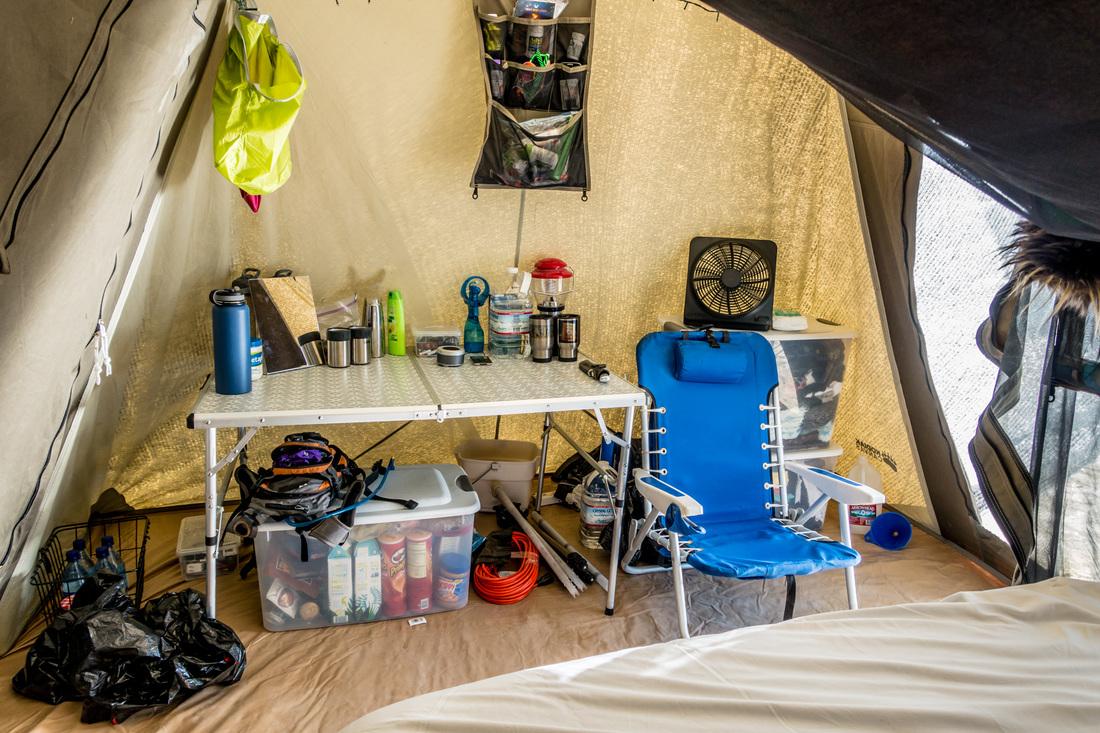 Inside a Kodiak Tent at The Burn