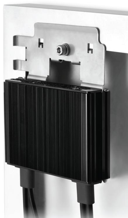SolarEdge Optimiser mounted behind the panel.