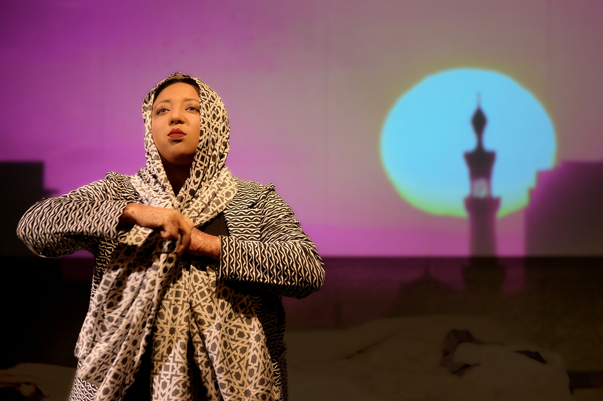 Fathiya Ritter in  Veils  by Tom Coash, directed by Lia Sima Fakhouri. Photo by Joe Iano Photography.