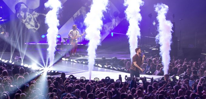 Imagine Dragons' Dan Reynolds rocks the Armory crowd in Minneapolis during a private VIP concert during Super Bowl LII week