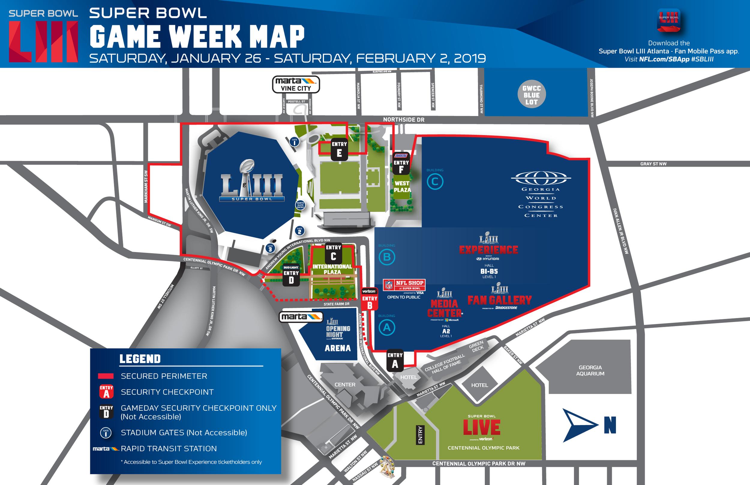Downtown Atlanta Map - including Super Bowl Live, Super Bowl NFL Experience, Georgia World Congress Center, and Mercedes-Benz Stadium.
