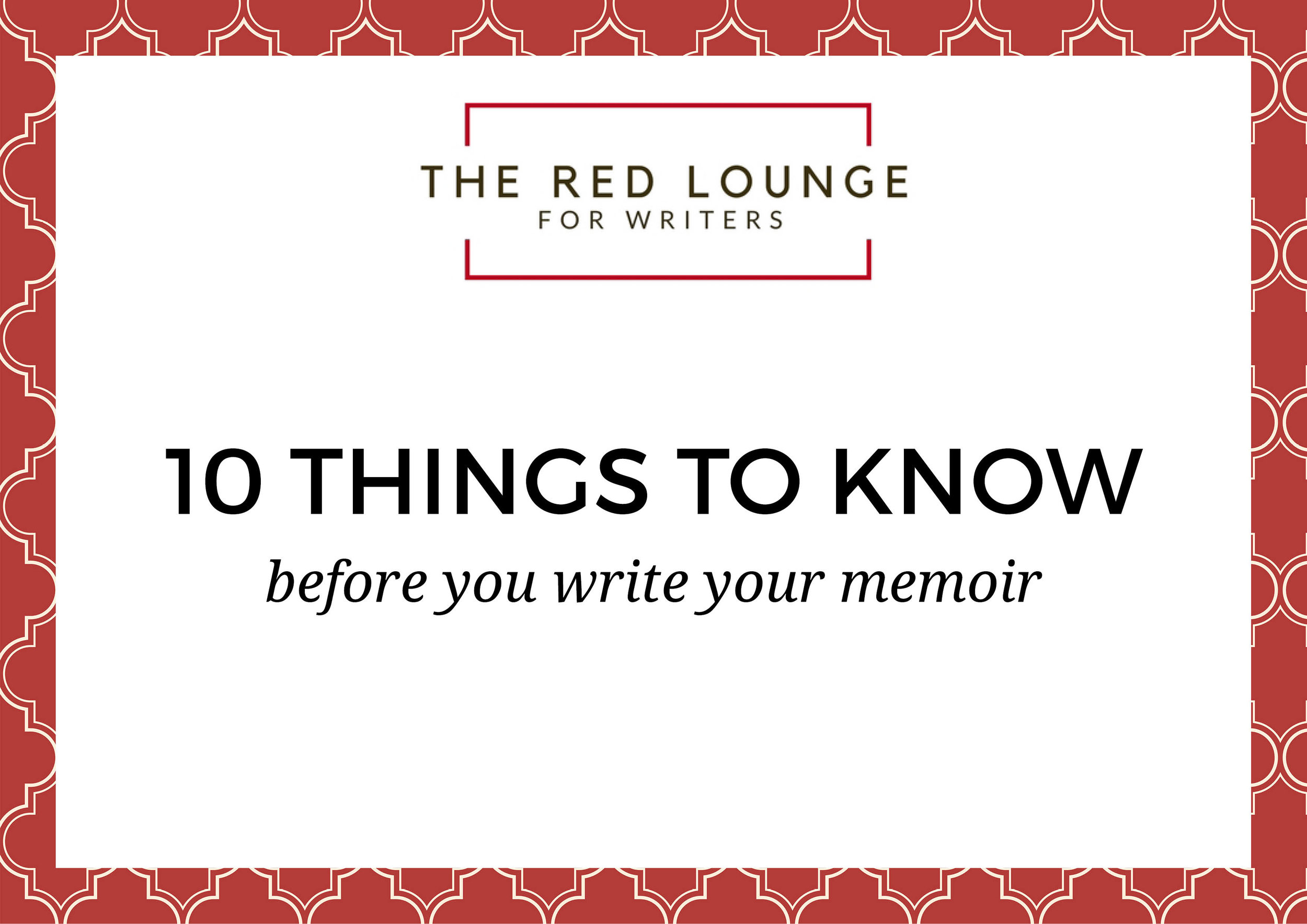 10 things to know before you write your memoir