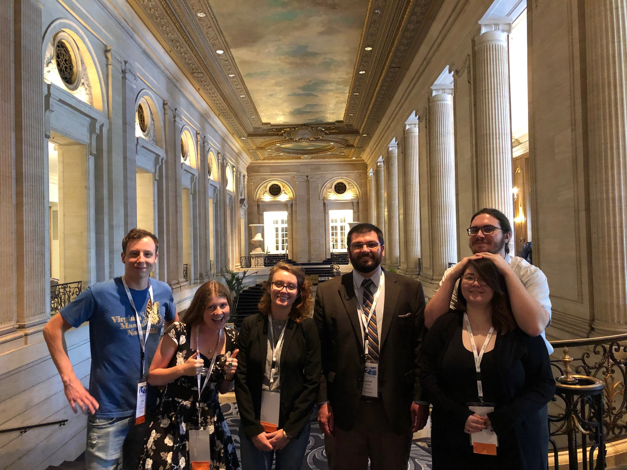 The Metzgar lab at SPNHC 2019: (L-R) Allen Milby, Erin Quesenberry, Ksenia Pereverzeva, Jordan Metzgar, Amber Reaney, Jake Riney.