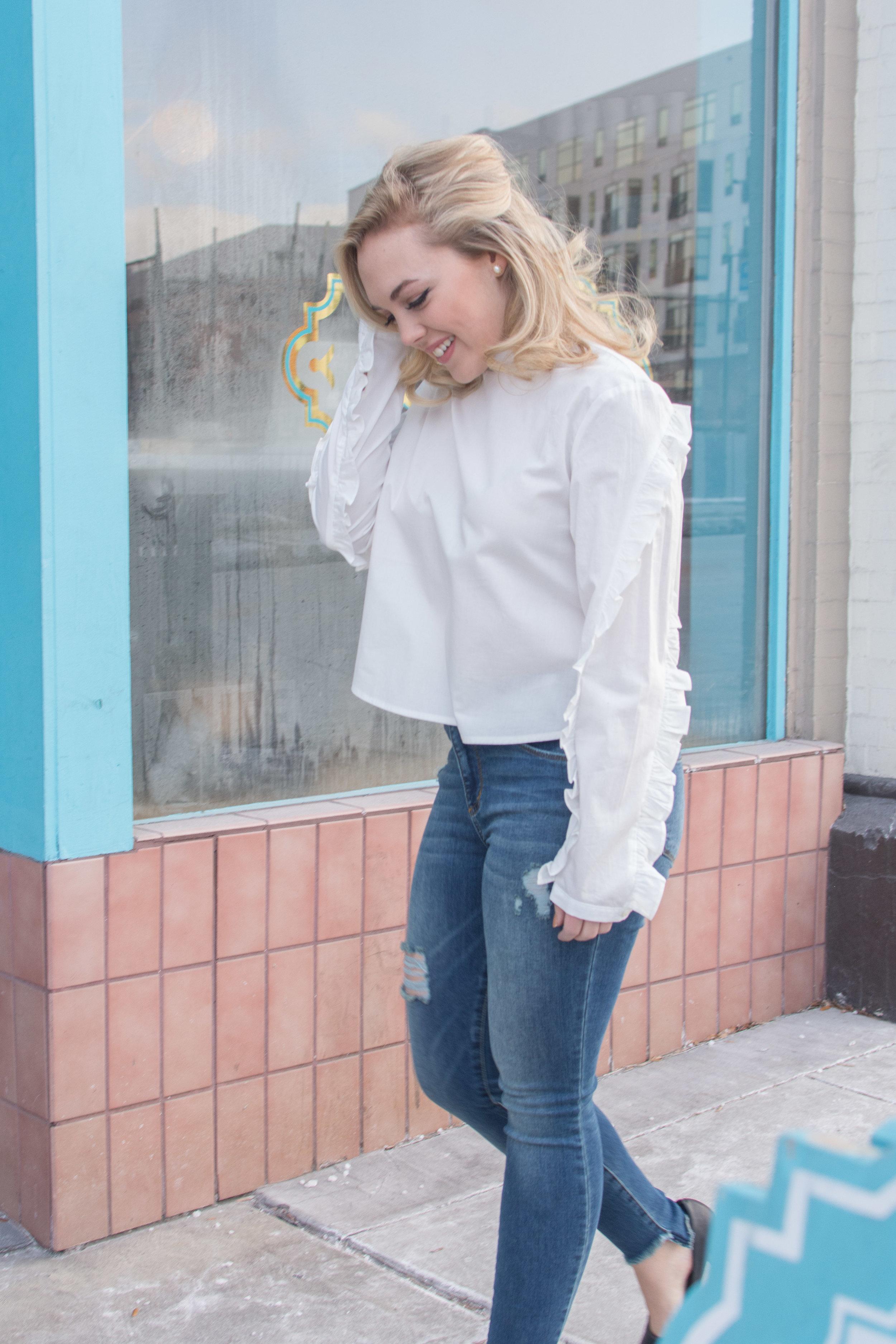 Avec les filles blouse (Sold out, but similar   here  ),   STS blue jeans  , vintage earrings, Kmart shoes (old)