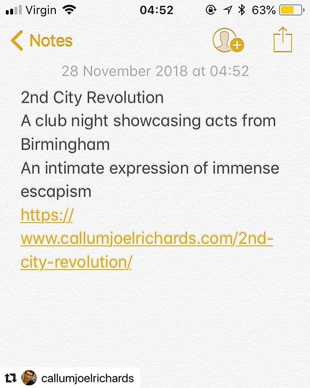 #Repost @callumjoelrichards with @make_repost ・・・ 2nd City Revolution @2ndcityrevolution  A club night showcasing acts from Birmingham An intimate expression of immense escapism https://www.callumjoelrichards.com/2nd-city-revolution/  #poem #poet #poetrycommunity #poetryporn #poetsofinstagram #poetryofinstagram #writing #writersofinstagram #writingcommunity #writer #writerscommunity