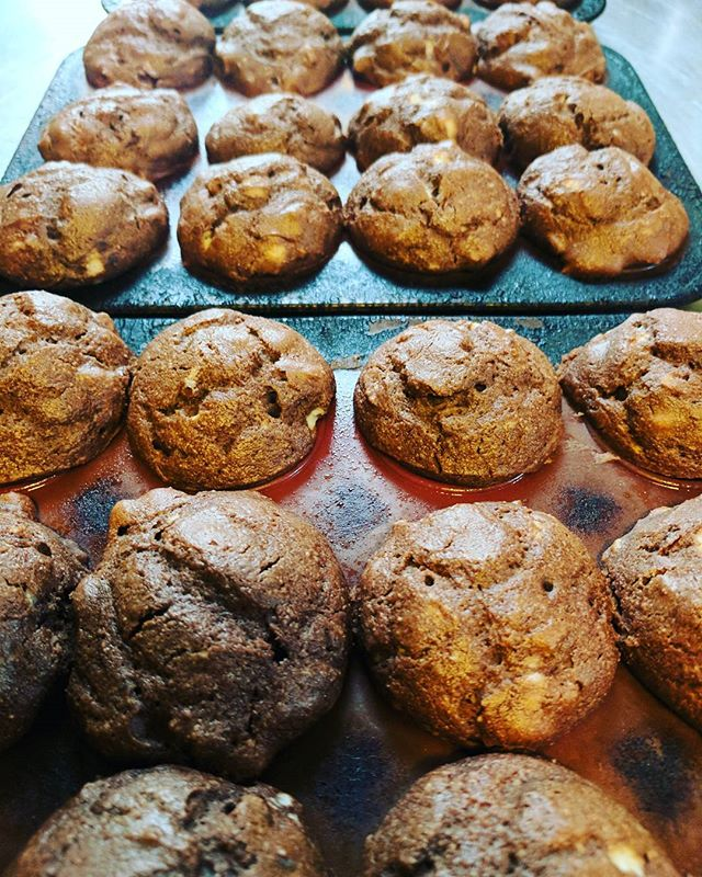 Chocolate pecan muffins for this morning's middle course!  Who doesn't love chocolate for breakfast!?