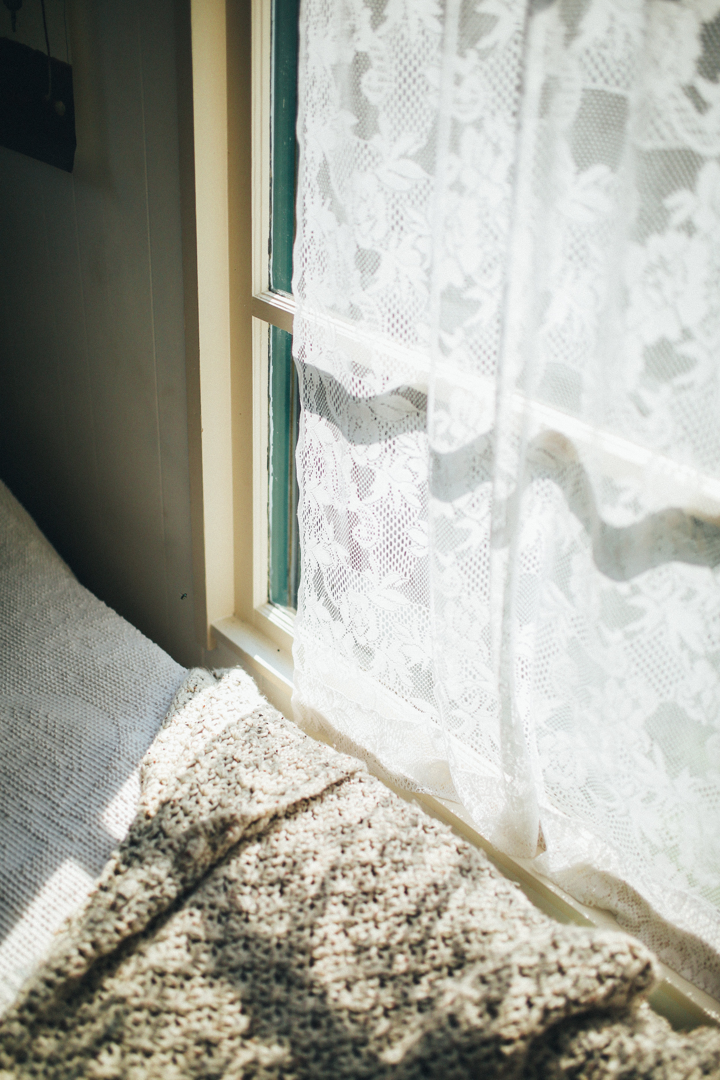 This lace curtain was found at a thrift store for $1.99! I love the way the light filters through it.