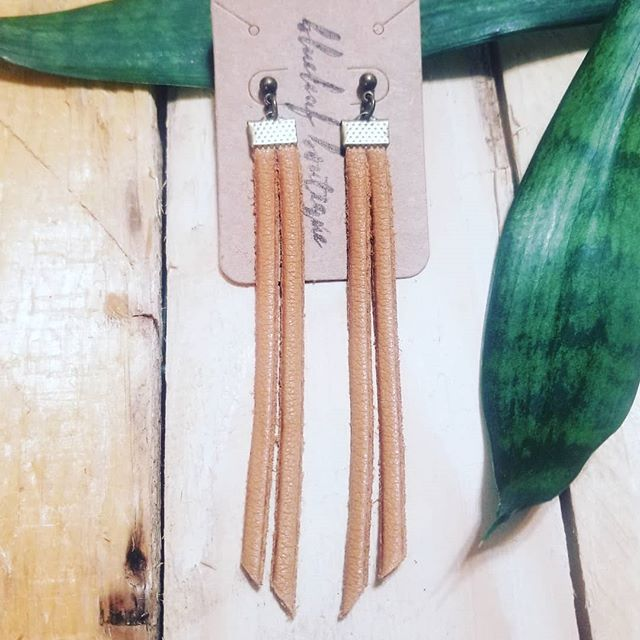 "Long Leather Fringe on posts in Whiskey $26 with free delivery in Anchorage and the Valley.  Shipping outside Alaska is available upon request.  Comment ""sold"" and I will PM you to make arrangements.  #handmadeinalaska #handmadejewelry #leatherjewelry #madeinalaska"