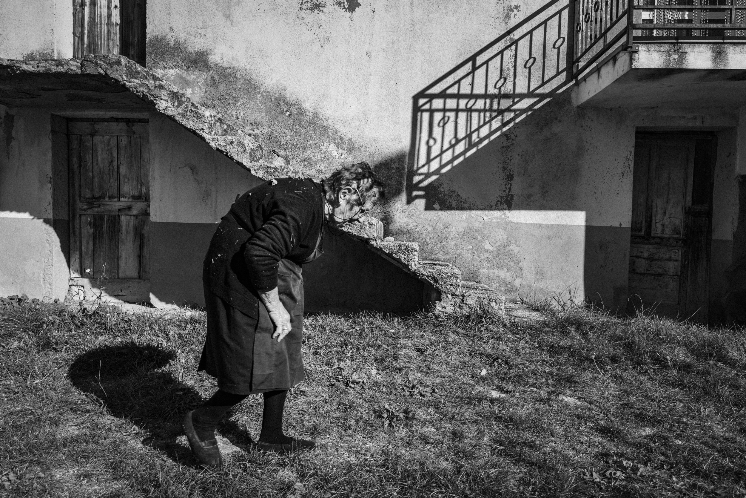 Sant'Angelo del Pesco (IS), Italy -November 2015, contrada Canala. Casciato Angela, widow, nearby  her house. By now, she lives in the house only during daytime.