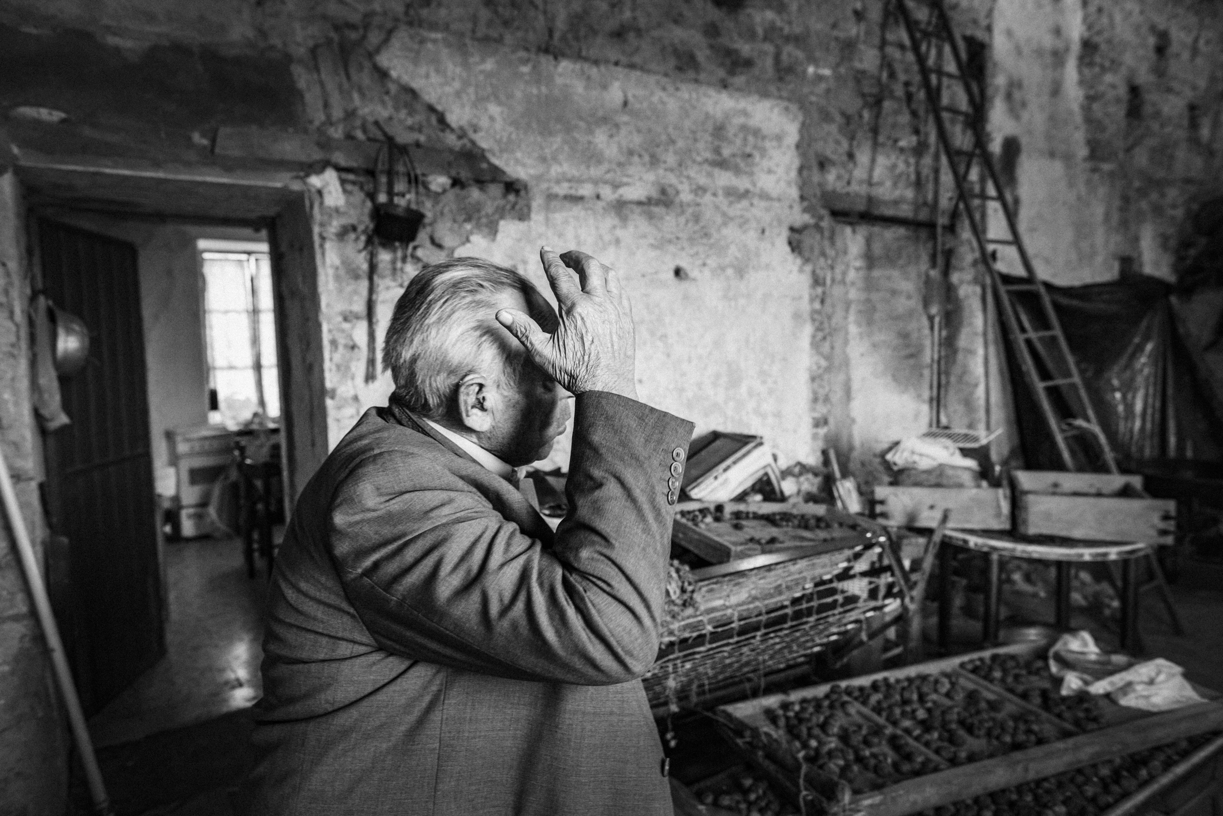Sant'Angelo del Pesco (IS), Italy - November 2015. Sciullo Nicola tells stories a bout the splendour of his youth in what remains of his agricultural estate.