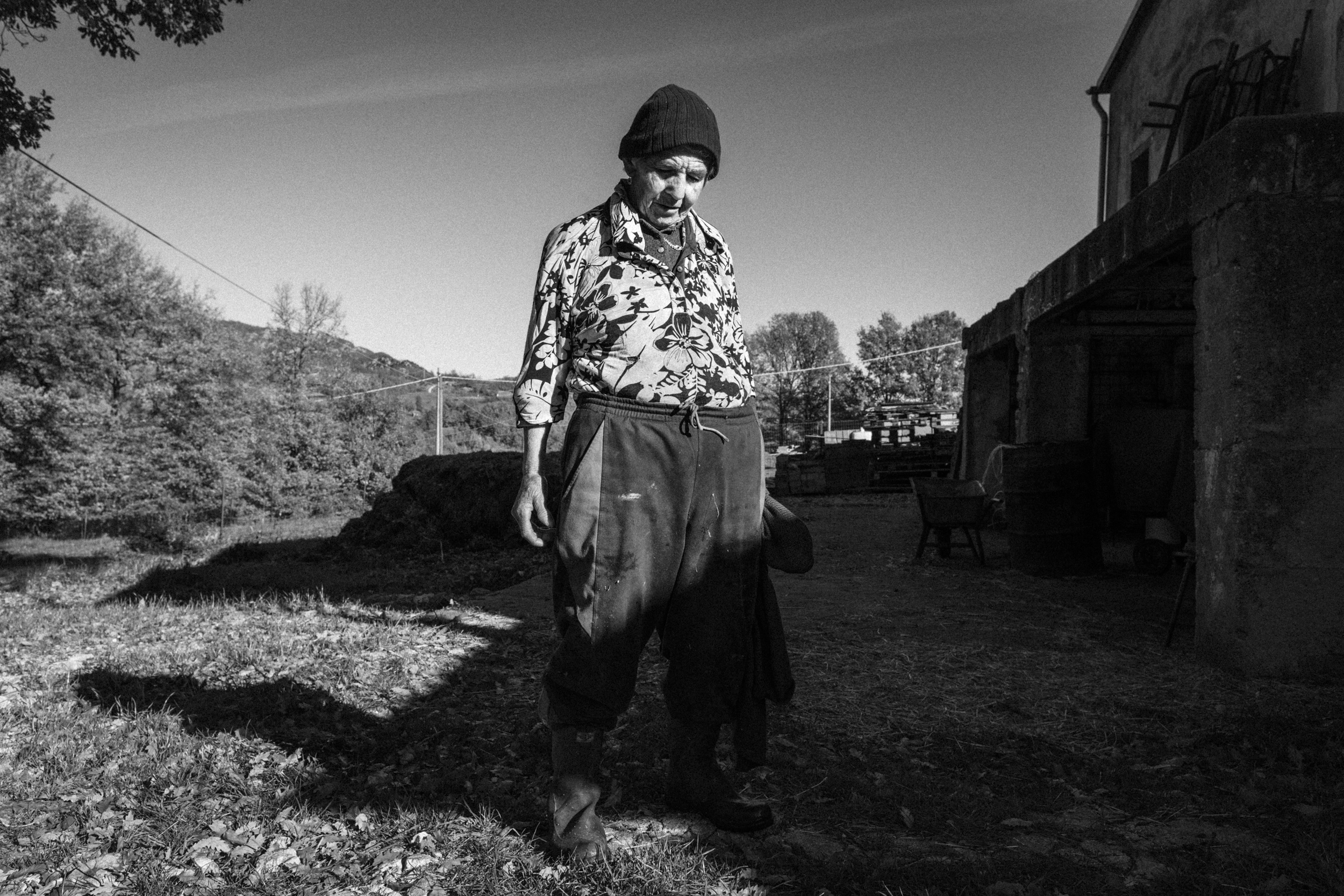 Sant'Angelo del Pesco (IS), Italy - November 2015. In a place called in the local dialect Nardon. Nunziella Casciato at the end of her daily activities related to livestock farming.