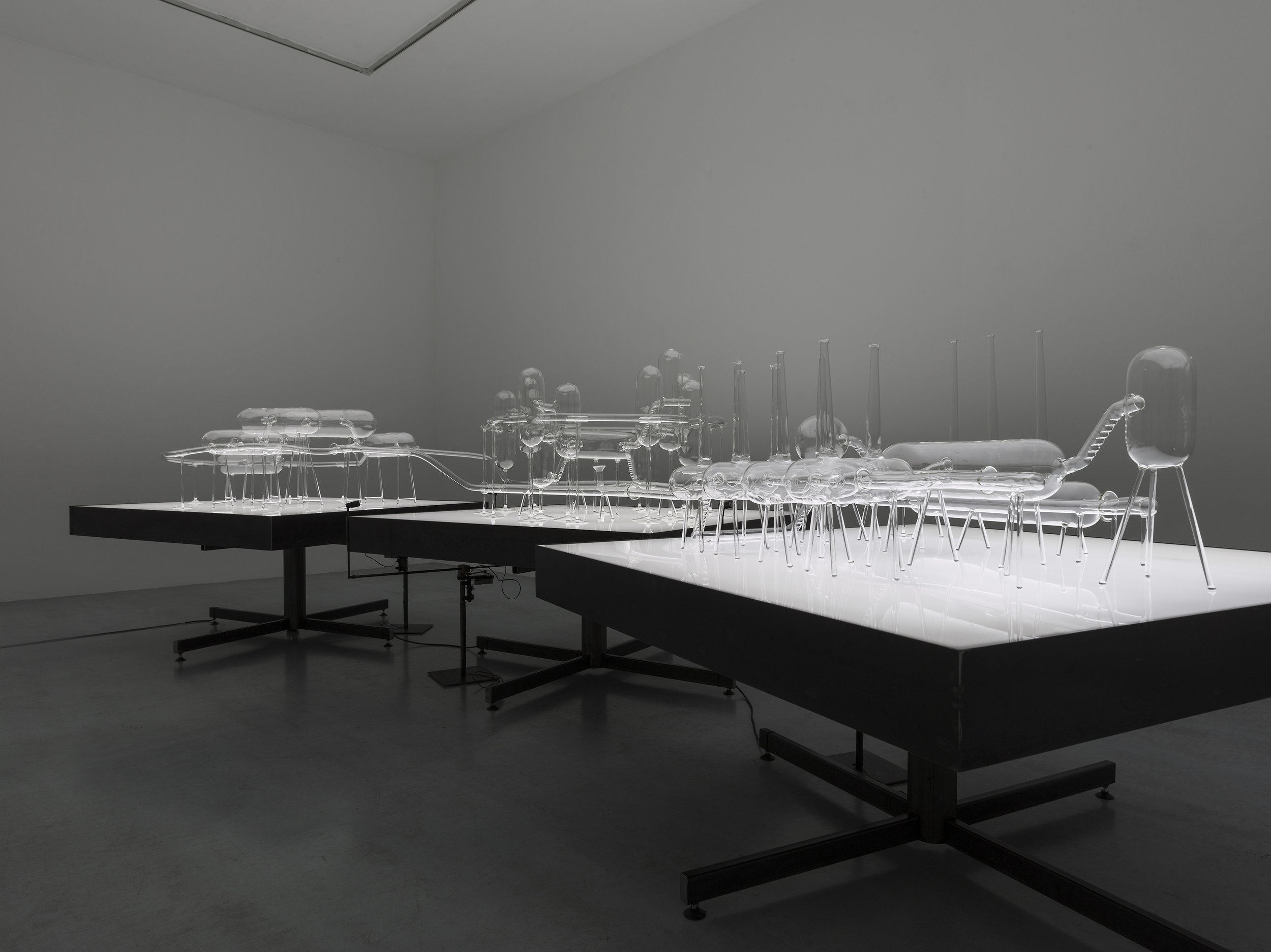 The City as a Closed System (aka The Fallacy of the Closed System) 2017  (city) borosilicate glass (landscape) steel, acrylic & LED's (dynamic light) steel, carbon fibre, LED, electric motor & Arduino