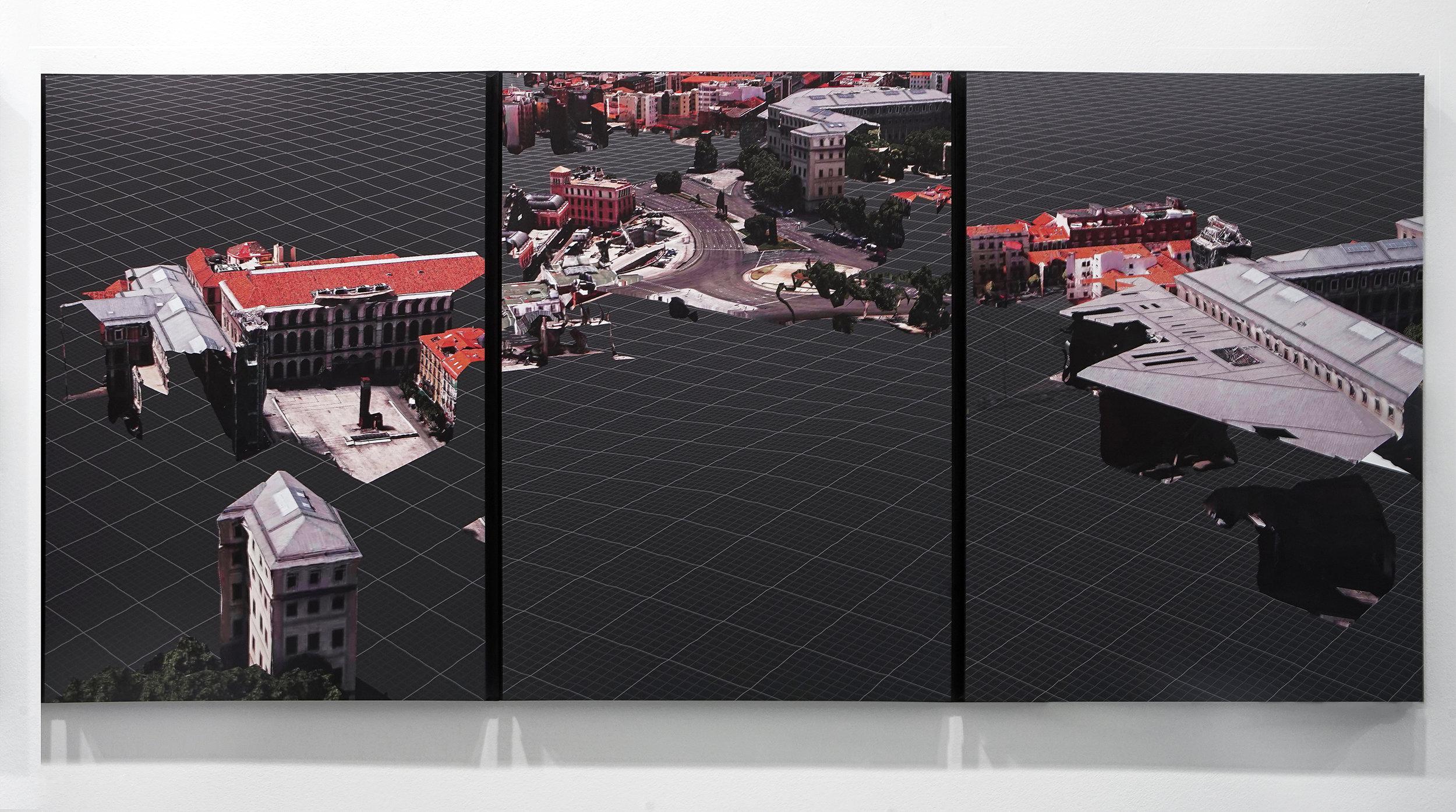 Triggered Glitches_MAD Reina (triptych), 2017  1800 X 840mm _ Digital image printed on Dibond