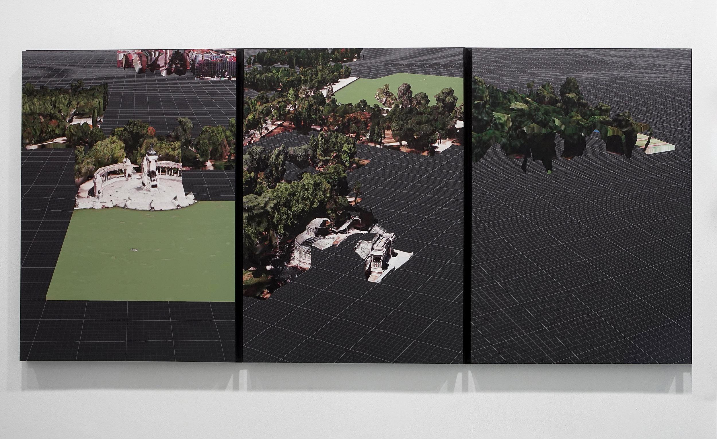 Triggered Glitches_MAD Retiro (triptych), 2017  1800 X 840mm _ Digital image printed on Dibond