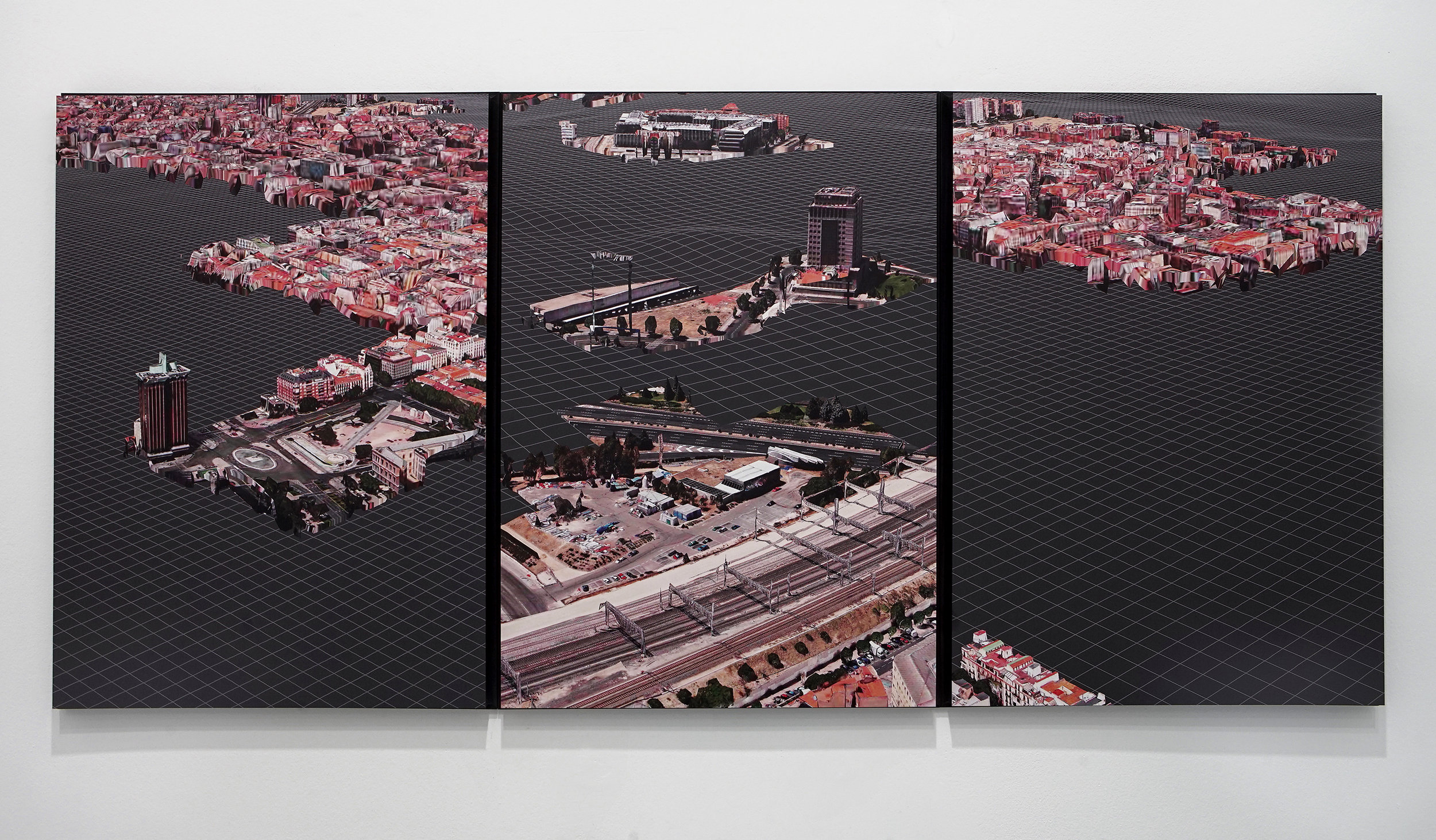 Triggered Glitches_MAD Norte:Sur (triptych), 2017  1800 X 840mm _ Digital image printed on Dibond