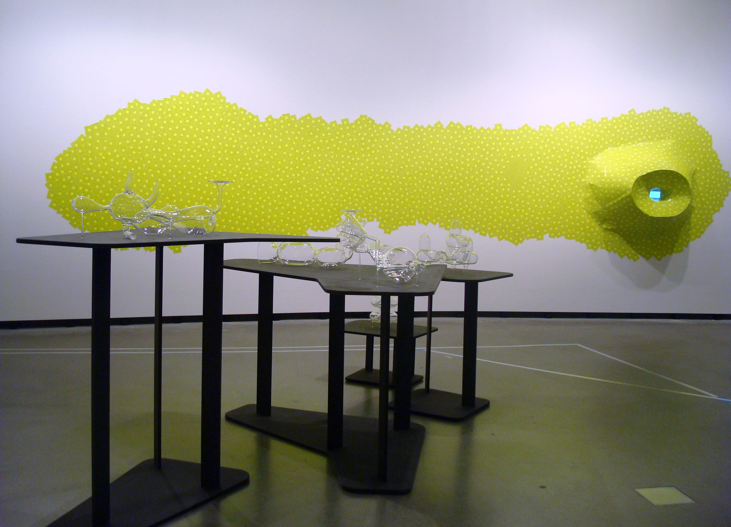 Imaginary Architectures, 2009 Borosilicate Glass and black mdf plinths