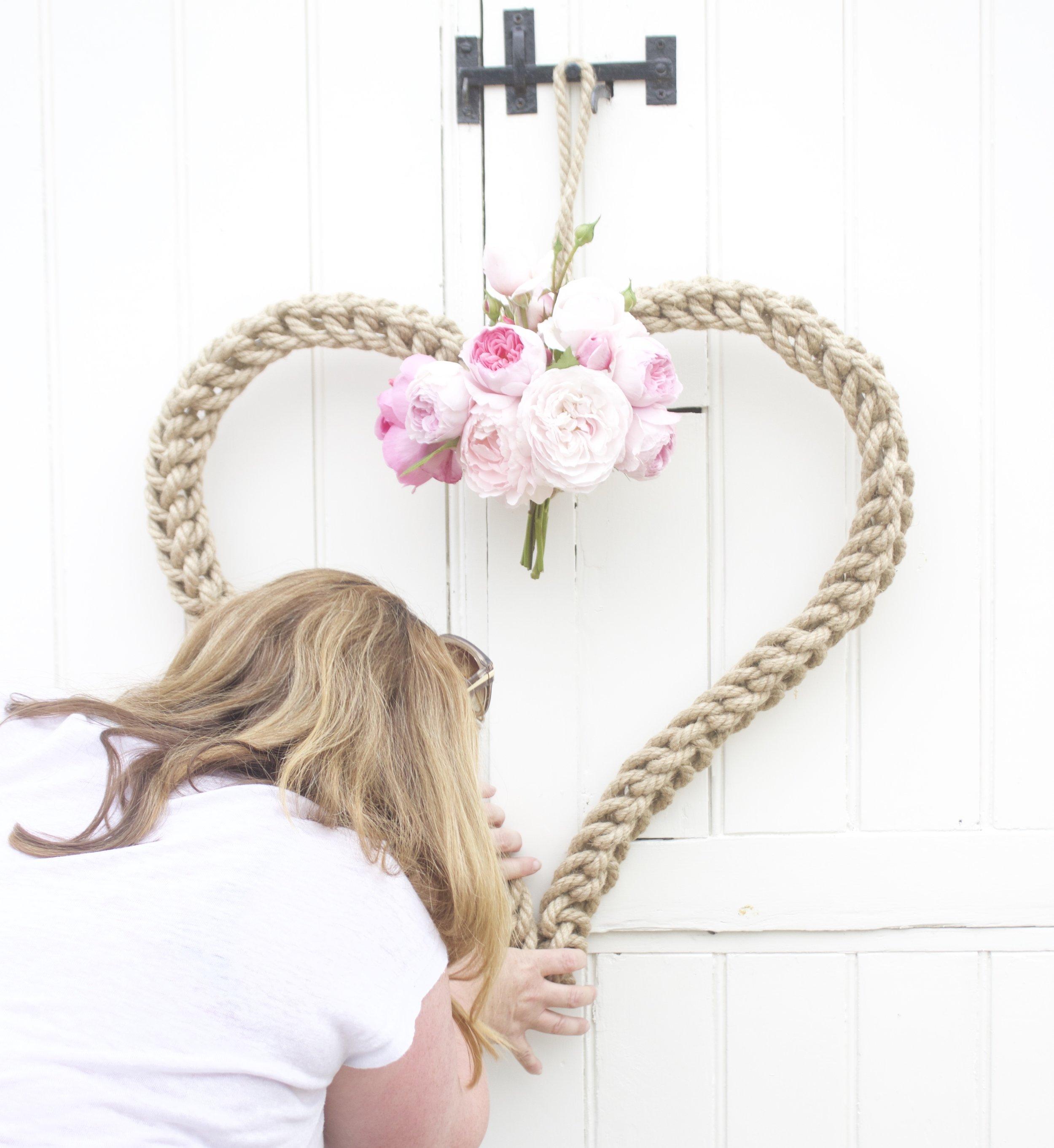 handmade heart rope wreath and roses jpg