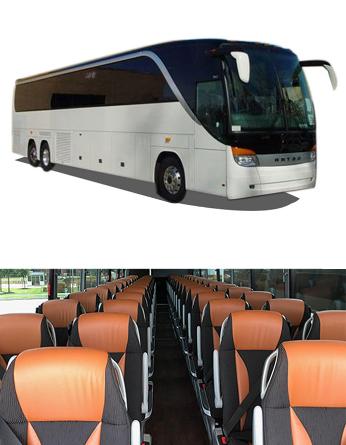 SETRA 56 - LUXURY FULLY LOADED COACH56 PassengersThis model is equipped with plush reclining seats, plenty of legroom, panoramic windows, extra luggage space, a lavatory, and more. Making for a comfortable and luxurious trip the SETRA Motor Coach is a safe and reliable transport for any occasion.CALL RESERVATIONS: 1-800-954-5466