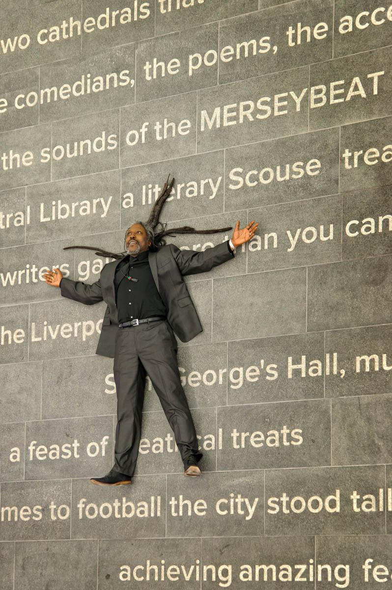 "POEM IN LIVERPOOL CENTRAL LIBRARY   To coincide with the reopening of the newly redeveloped Liverpool Central Library in 2013. Levi Tafari was commissioned to create a poem which is now ecthed instone at the entrance to the librarywelcoming visitors to the library.  The poem ""The Daughter of Merseyside"" which celebrates Liverpool's rich heritage, history, arts and culture is the centre piece on the ground floor of the library."