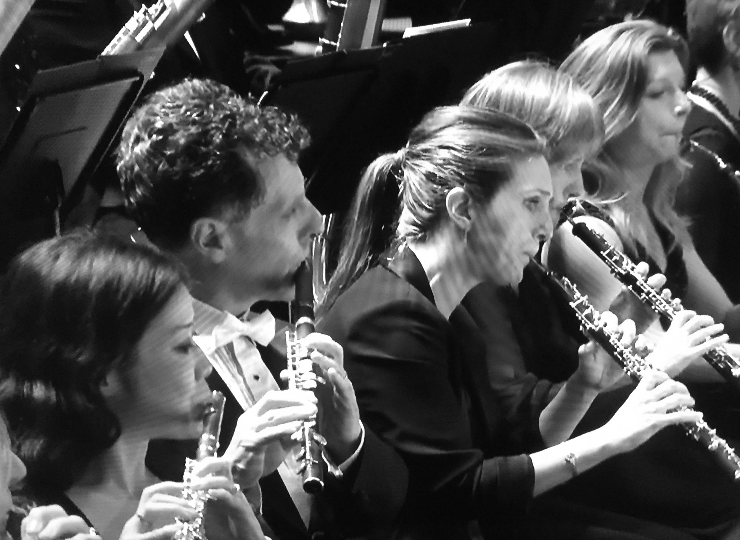 Emily leading the BBC Symphony Orchestra oboe section for First Night of the Proms 2016