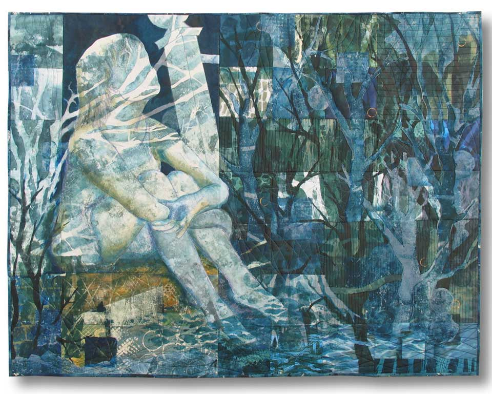 """Becoming One with the Night"" is the art quilt I looked at through the window reflections. It's here on my web site in the Journeys and Stories gallery."