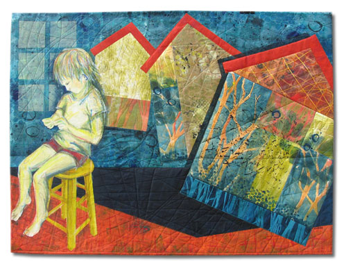 """Saying the Magic Words"" Textile Collage/Art Quilt, 43"" x 34"""