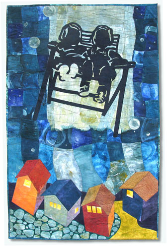 """Flight of the Magical Lawnchair"" Textile Collage/Art Quilt, 29.5"" x 46"""