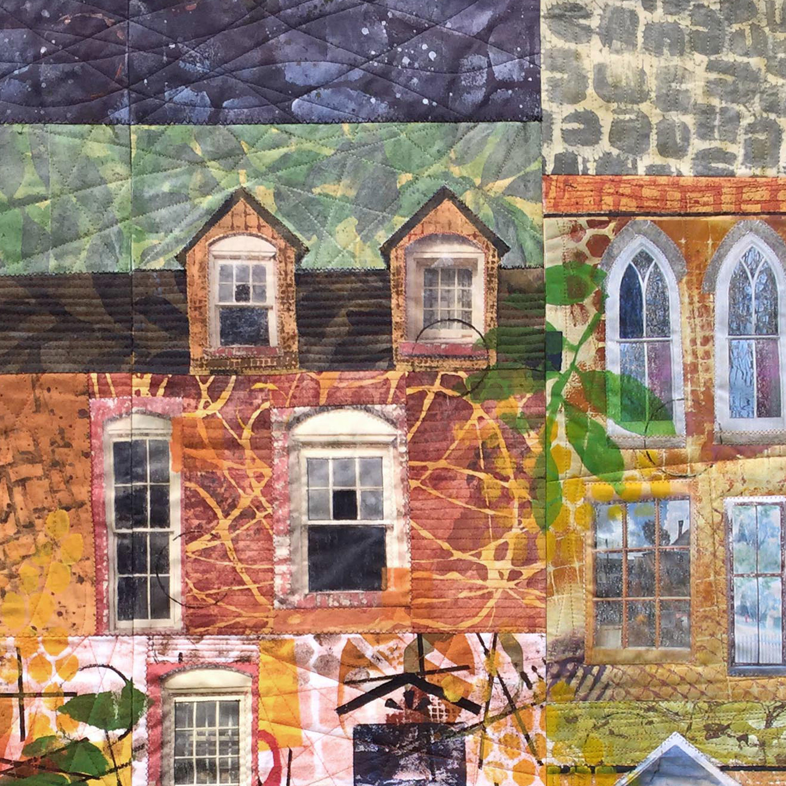 Art Quilt Every One Has a Different Story (Detail) inspired by my childhood row house home