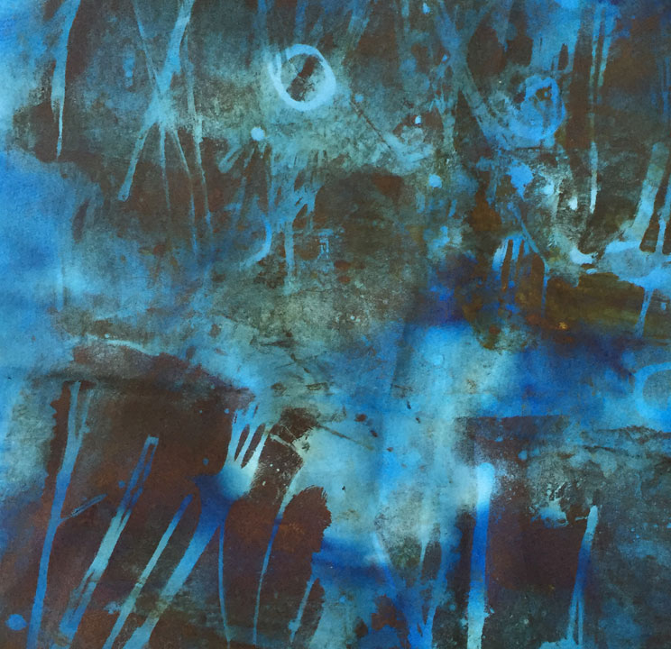 Detail of another blue monotype in my studio now. I'm still formulating a plan for this one.