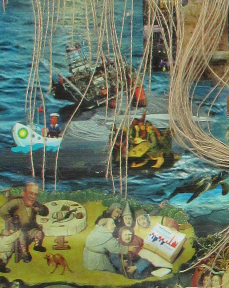 "Detail ""End of Eden"". We've added the CEO of BP and the oil spill to Bosch's ship of fools segment, and translated one of Bosch's gluttons into David Koch,."