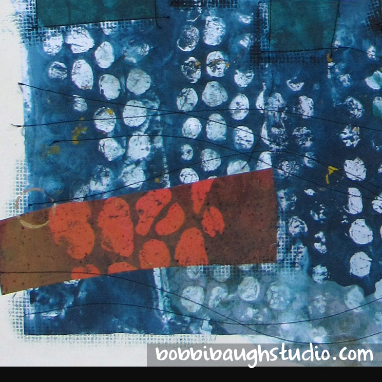 Collage detail - acrylics on muslin