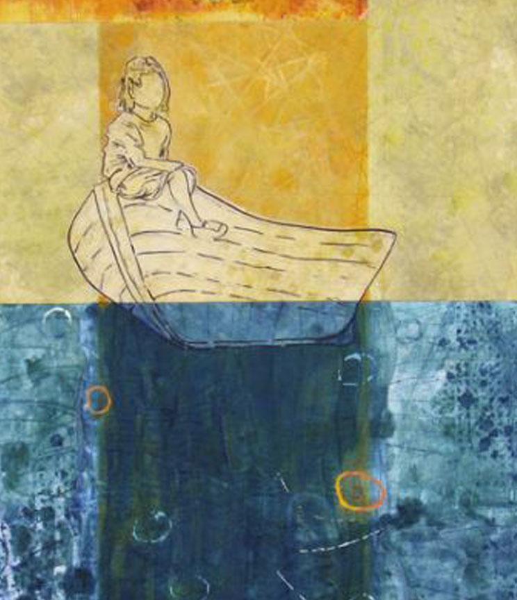 """""""Adrift"""" 42"""" x 42"""" art quilt (Detail)"""