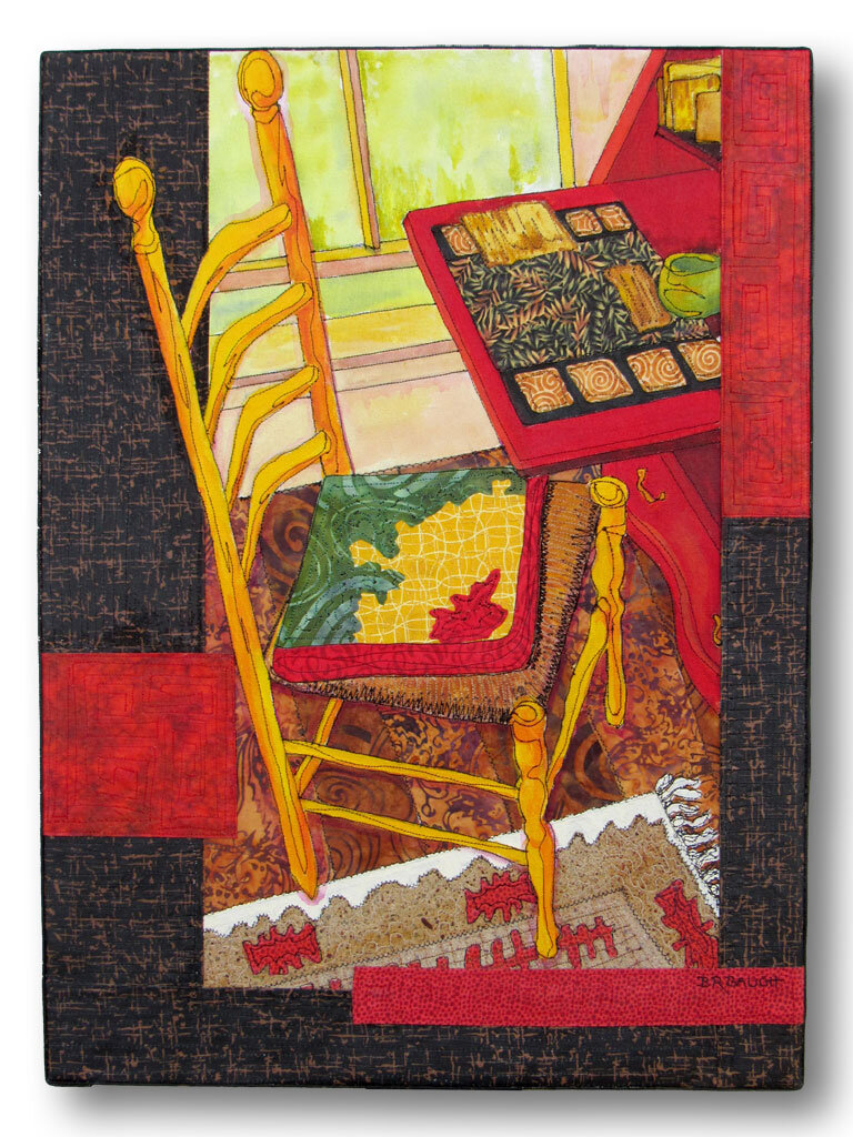 """""""Charlotte's Yellow Chair"""" 24"""" x 18"""" collage o panel"""