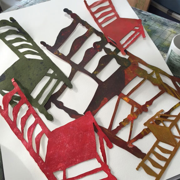 I often use hand-cut stencils to create the image of the chair. I use them for monotype printing and resist imaging, and as patterns for applique. I have created them in various sizes – reaching for one in my file is like reconnecting with an old friend.