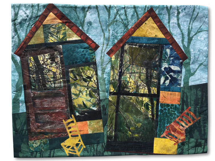 """""""Something Else will Grow There"""" Collaged Art Quilt 35"""" x 43"""""""