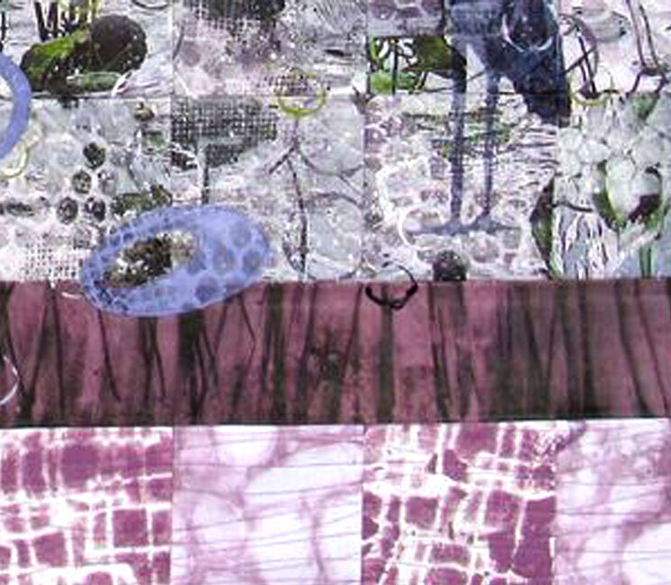 """What the Waterlilies Sing"" art quilt (Detail)"
