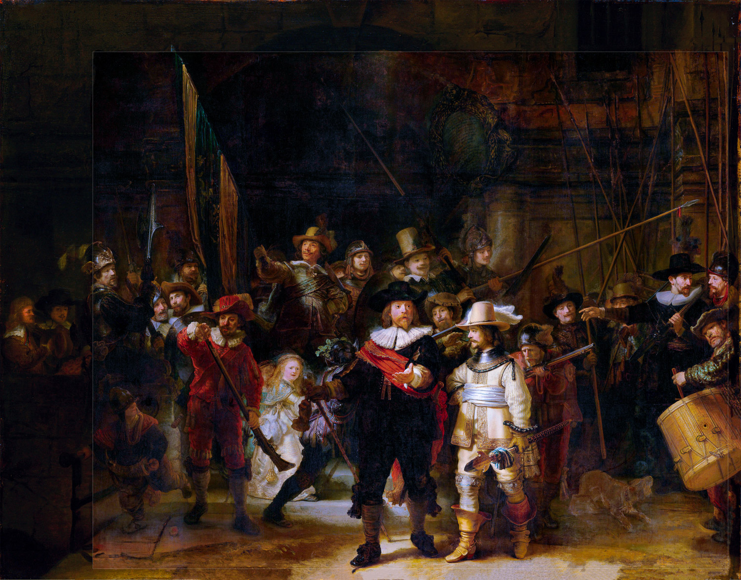 Rembrandt: the Night Watch (restored version with help of Gerrit Lundens)