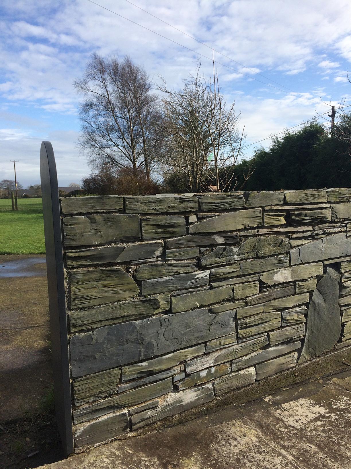 Pillared Welsh slate walling