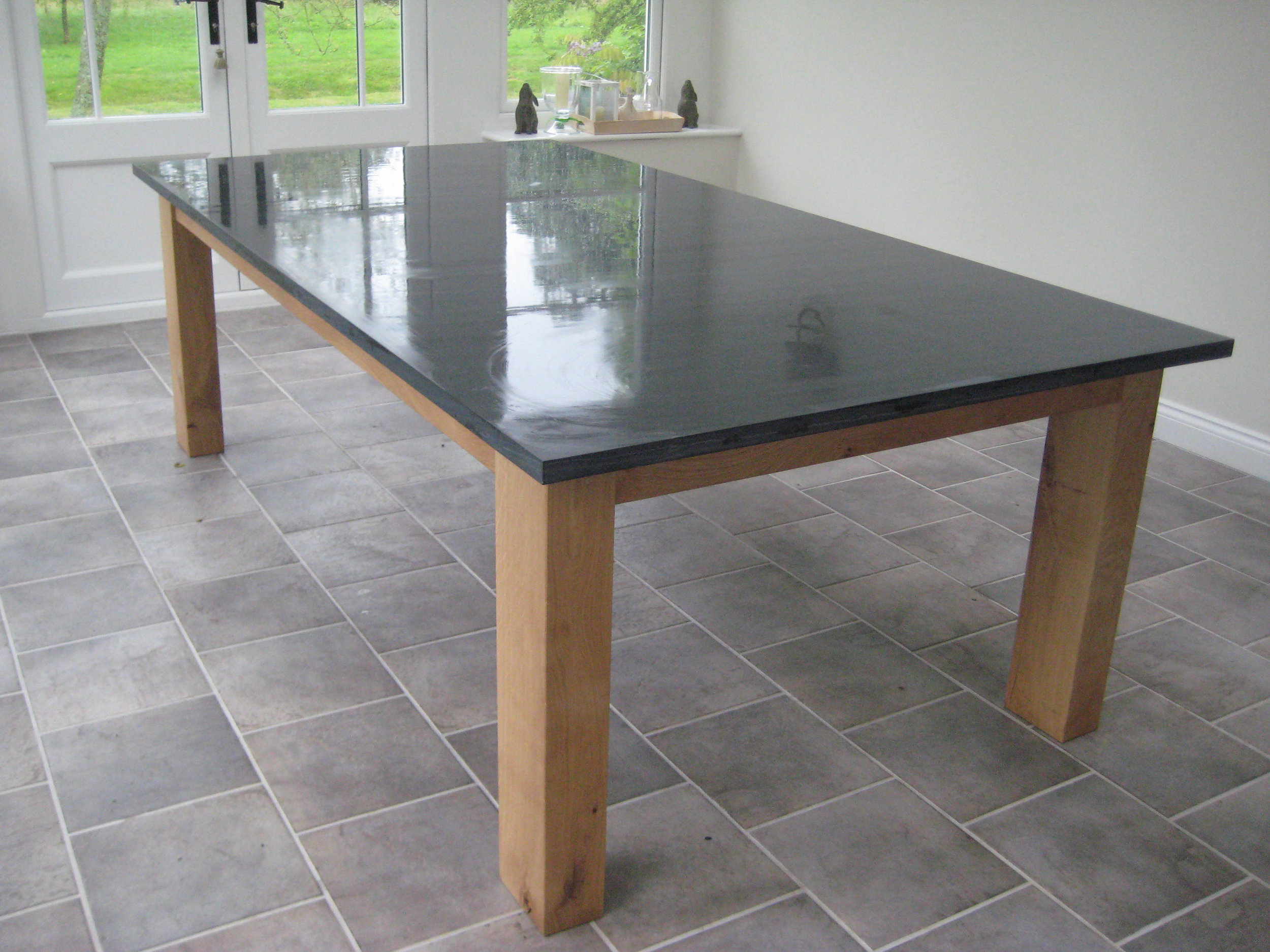 Polished Welsh slate and oak dinning table